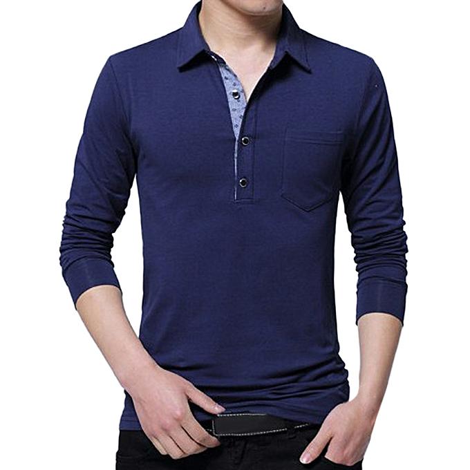 Fashion Men's Spring Casual Fashion Long Sleeved Lapel Button Cotton T-shirt Tops Blouse -bleu à prix pas cher