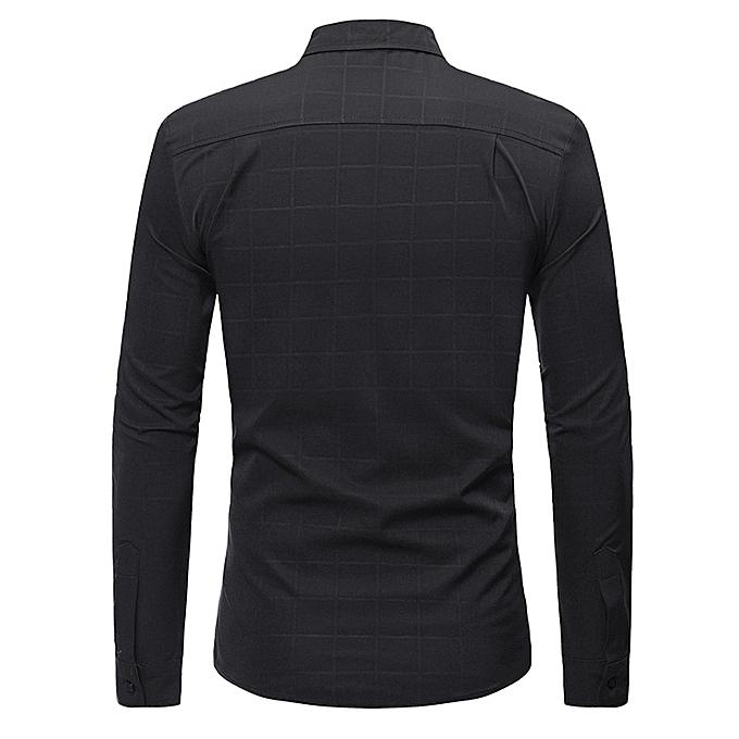 mode jiuhap store Hommes& 039;s Shirts Slim Plaid été Décontracté manche longue T-Shirt Décontracté chemisier à prix pas cher
