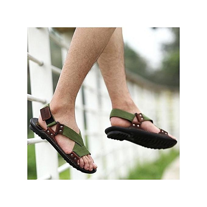 Générique Rubber UJ  Cowhide Leather Rubber Générique Sole   Sandals-army Green à prix pas cher    Black Friday 2018   Jumia Maroc 3dddc2