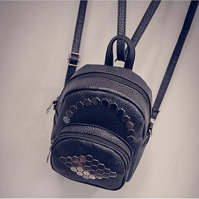 Generic Noble femmes cuir Hexagonal Rivets Solid Couleur Simple sacsvoyage sacs sac à dos à prix pas cher