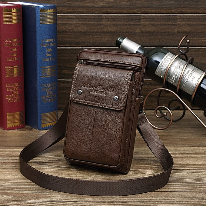 Other Men's  Leather Small Square Bag High Quality Multi-Function Messenger Bag Retro Business Office Mobile Phone Storage(marron 2) à prix pas cher