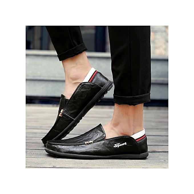 HT   HT s Leather Loafer Flats Comfy Driving Shoes-Black à prix pas cher  | Jumia Maroc 725336