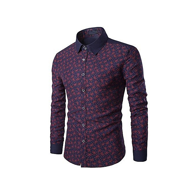 Cuena Mens Casual Long Sleeve Shirt Business Slim Fit Shirt Print Blouse Top- Wine   XXL à prix pas cher