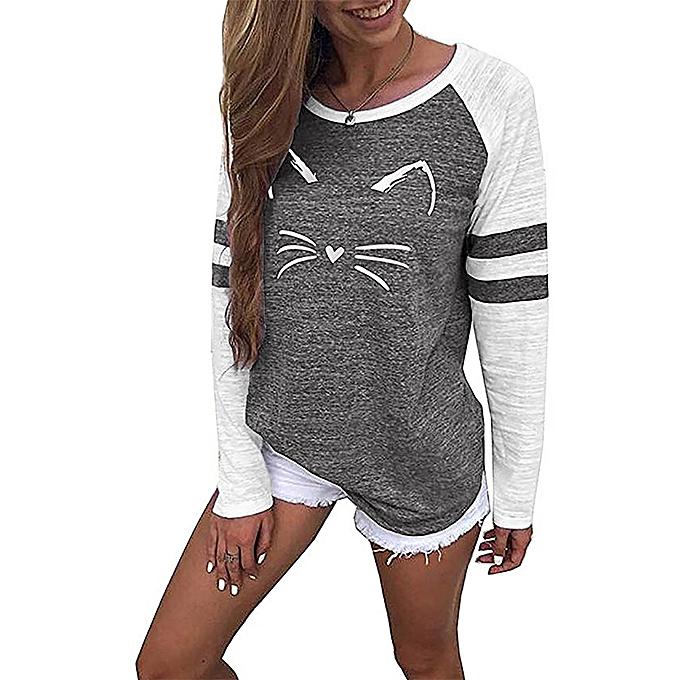 mode Hiamok femmes Ladies Cat impression T-Shirt manche longuel hauts chemisier BK L à prix pas cher