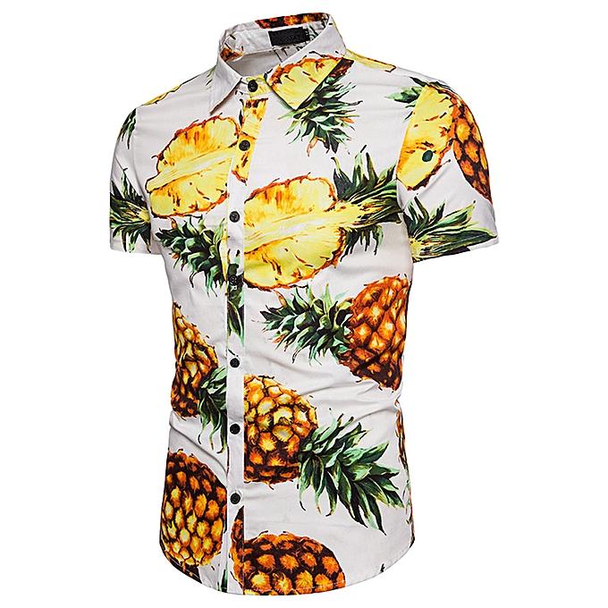 mode Personality Hommes& 039;s Décontracté Slim manche courte Pineapple Printed Shirt Top chemisier  -blanc à prix pas cher