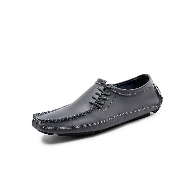Fashion Mens Cow Leather Loafer Flats Plus Taille-gris à prix pas cher    Jumia Maroc