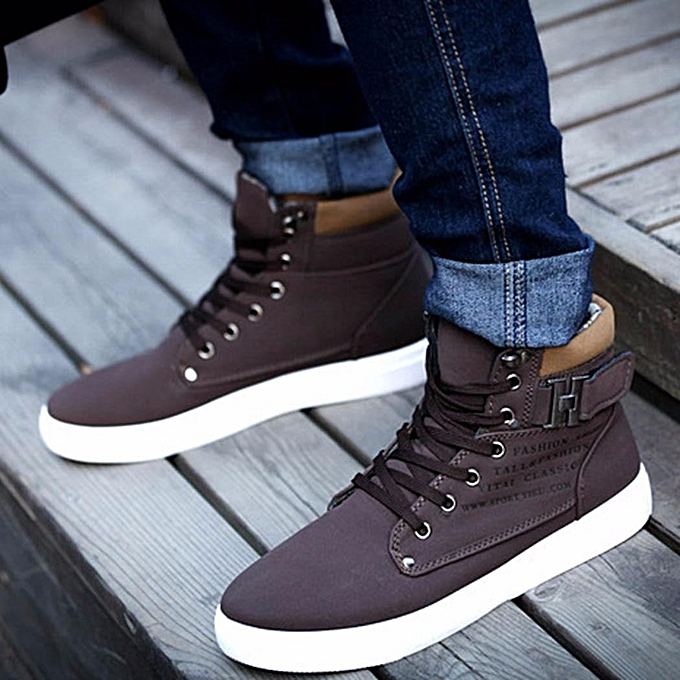 Fashion Fashion Mens Oxfords Casual High Top chaussures Leather chaussures Canvas baskets New Ankle bottes-EU à prix pas cher