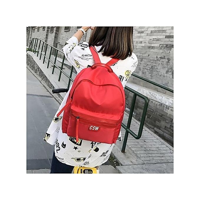 Neworldline Wohommes Fashion Oxford Solid School Bags Travel Backpack Bag RD-rouge à prix pas cher