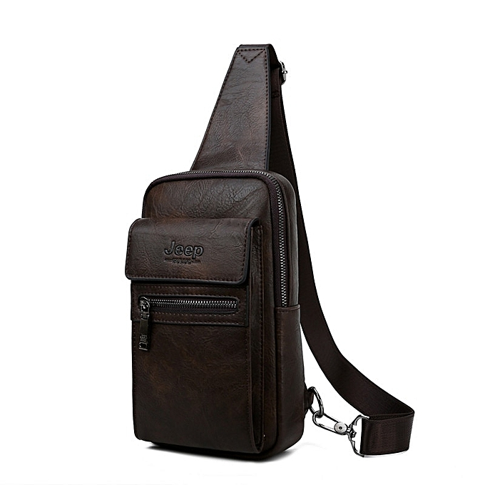 Other JEEP BULUO High Quality Hommes Chest sacs Split cuir grand Taille Shoulder bandoulière sac For Young Man Famous Brand Sling sacs(8804-marron) à prix pas cher