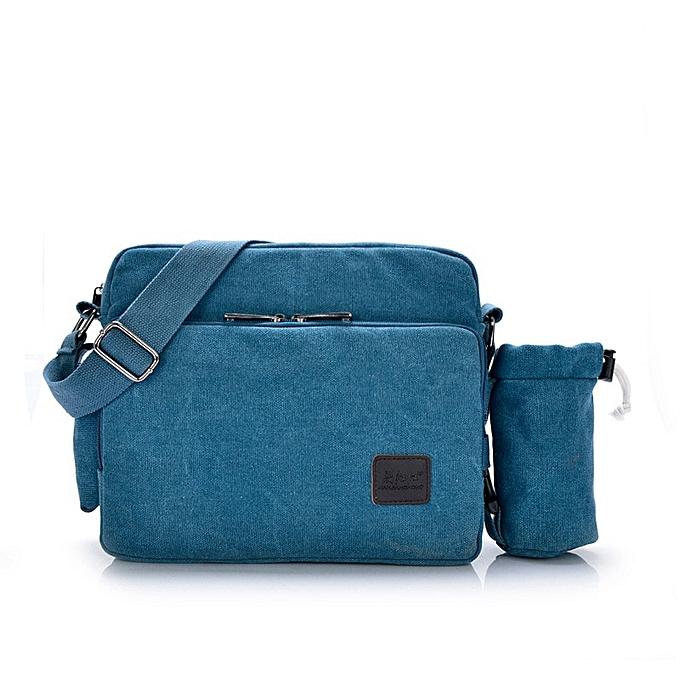 Other 2019 Canvas Multifunction Mens Messenger Shoulder Bags Solid Briefcases Suitcase Card Pocket For Men femmes Office Outdoor Travel(bleu Cup) à prix pas cher