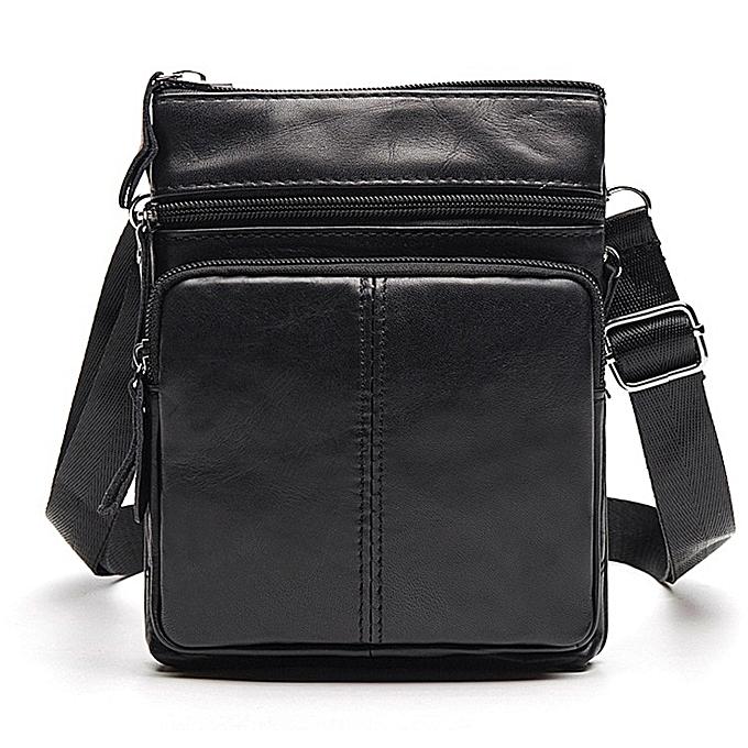 Other OURONOK  Cow Leather Men Bag vertical femmes Uni Shoulder Messenger Bag Zipper pouch for Gift Men femmes Crossbody Bag(noir) à prix pas cher