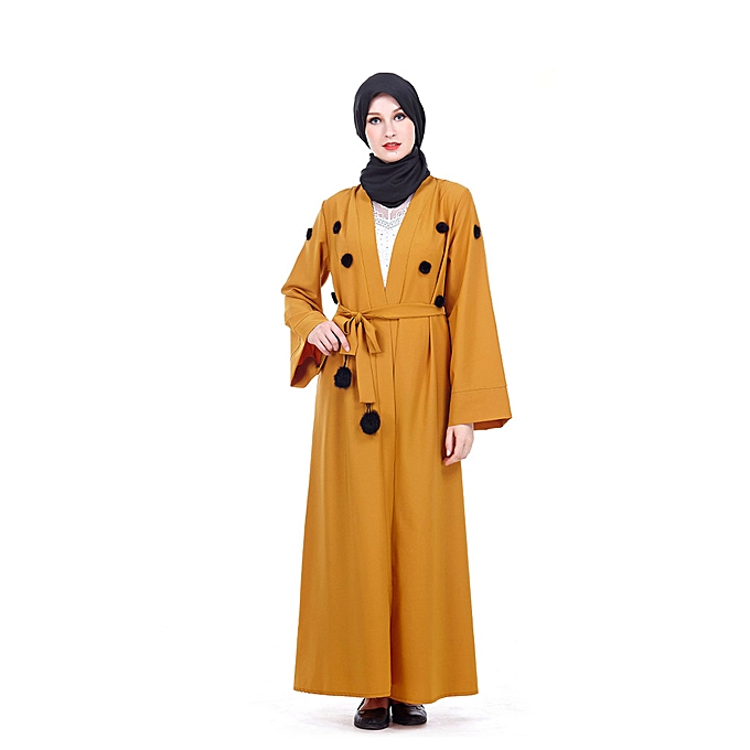 Fashion Hiamok Muslim Islamic Cute Long Dress femmes Elegant Long Sleeve Dress Abaya Long Rob à prix pas cher