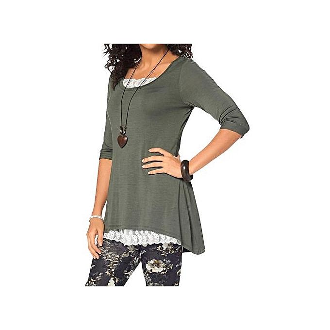 Fashion femmes O Neck Tops Long Sleeve Irregular Tops Blouse T-Shirt à prix pas cher