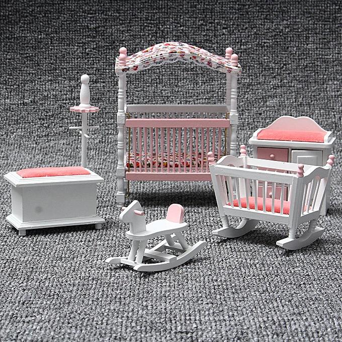 OEM 6Pcs 1 12 Dollhouse Bedroom Miniature Bedroom Chair Wood European Furniture Set à prix pas cher