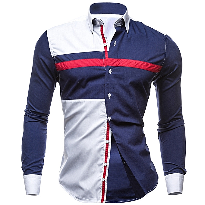Fashion Mens Patchwork Contrast Couleur Turn Down Collar Fashion Fit Designer Shirts à prix pas cher