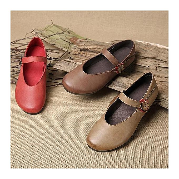 Fashion SOCOFY Fashion Fashion Fashion WoHommes  Retro Flower Pattern Buckle Soft Flat Leather Shoes Loafers à prix pas cher  | Jumia Maroc 5c4409
