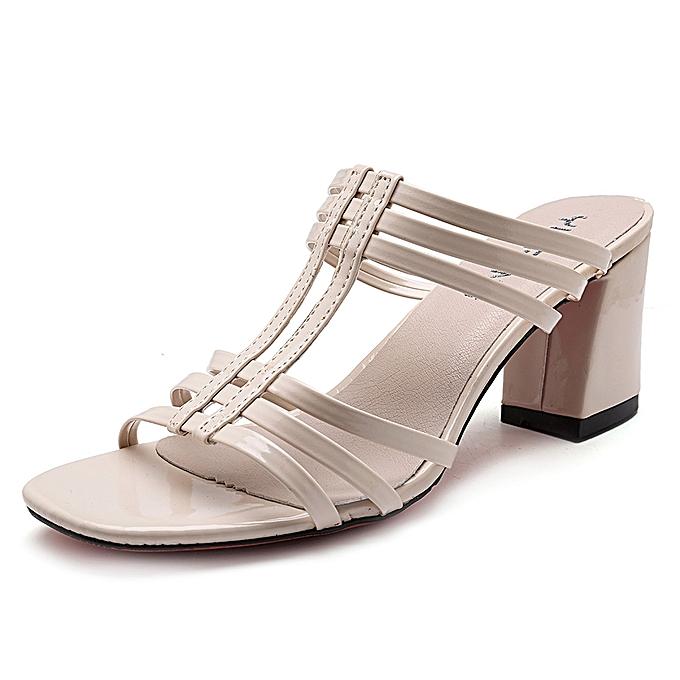 Fashion femmes chaussures Rohomme Peep Toe Chunky Heel Sandals à prix pas cher