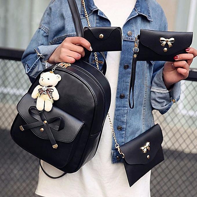 mode Tcetoctre femmes Four Sets sac à dos Handsac Shoulder sacs Four Pieces Tote sac bandoulière-noir à prix pas cher