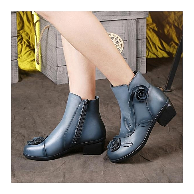 Fashion SOCOFY Retro Handmade Rose Pattern Ankle Low  Heel Leather Fashion WoHommes  Low Boots à prix pas cher  | Jumia Maroc c71432