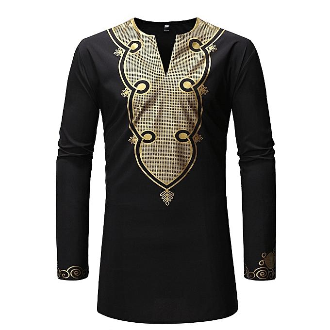 Other Stylish Men's Long Sleeve Slim Fit Dress Shirts Africa Style Print Shirt -noir à prix pas cher