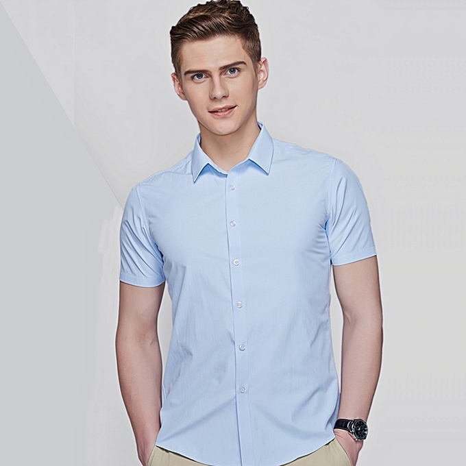 Fashion Modal short sleeve dress shirt-Light bleu à prix pas cher