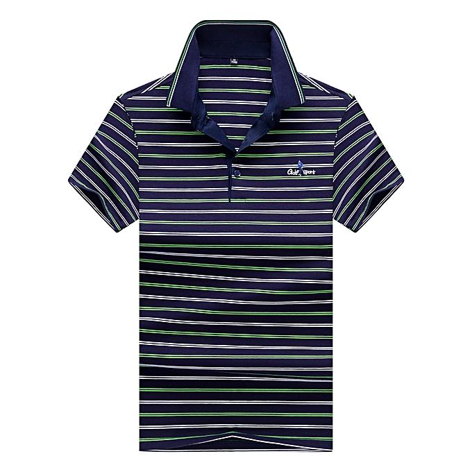 Fashion Men's Business Casual Lapel Turtleneck Short Sleeve T-Shirt-vert à prix pas cher