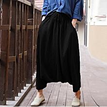 f27f0f9a7ba55 ZANZEA Cotton Linen Women Elastic Lace-up Baggy Drop-Crotch Pocket Harlan Pants  Black