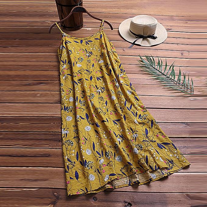 Zanzea femmes Spaghetti Strap Long Shirt Dress Floral Print Summer Sundress à prix pas cher