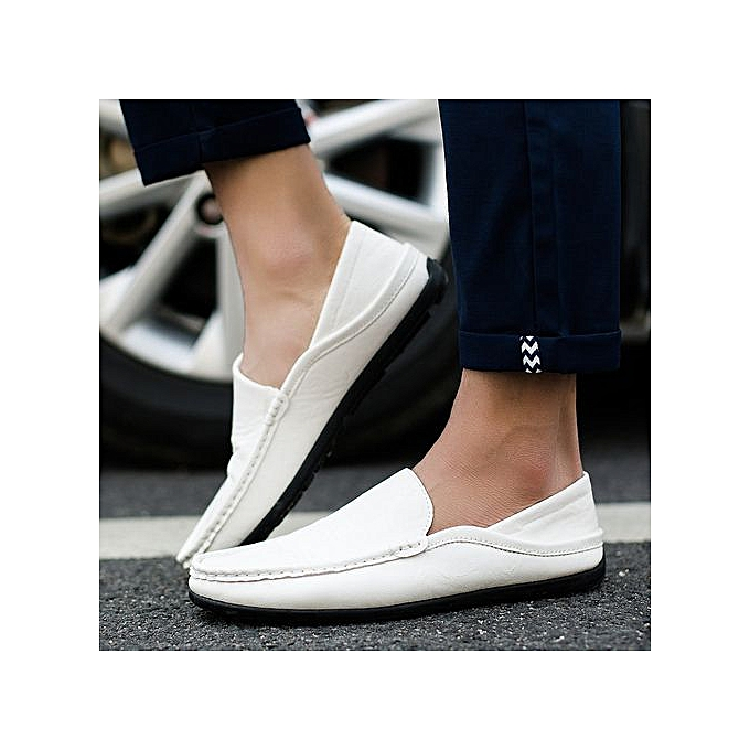OEM New simple peas chaussures set foot hommes chaussures Korean version of driving hommes casual chaussures half dragging tide leather chaussures-blanc à prix pas cher    Jumia Maroc