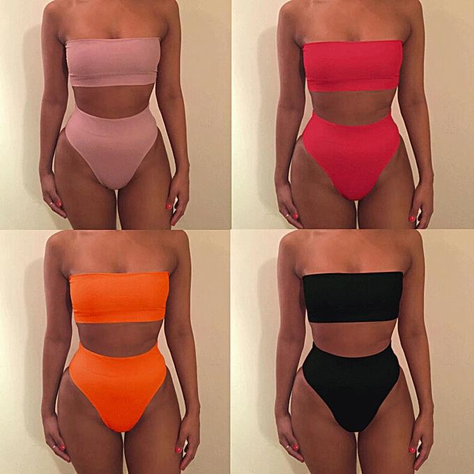 Autre femmes Swimsuit 2Pcs High Waist Bikini Set Bra Solid Swimsuit Swimwear Bathing Suit Taille S-XL 6 Couleurs( noir) à prix pas cher