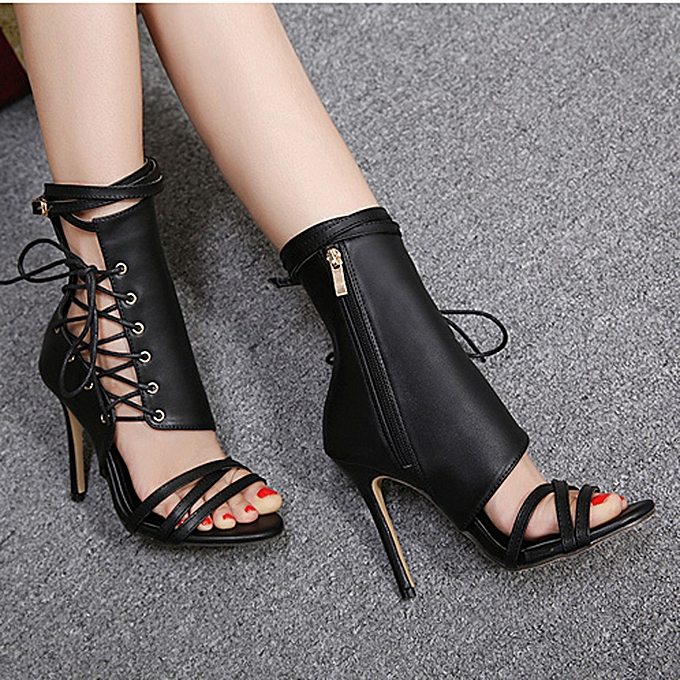 Generic Tcetoctre Rohomme Buckle Strap chaussures femmes Sandals Sexy Sandals talons hauts femme Ankle bottes-noir à prix pas cher