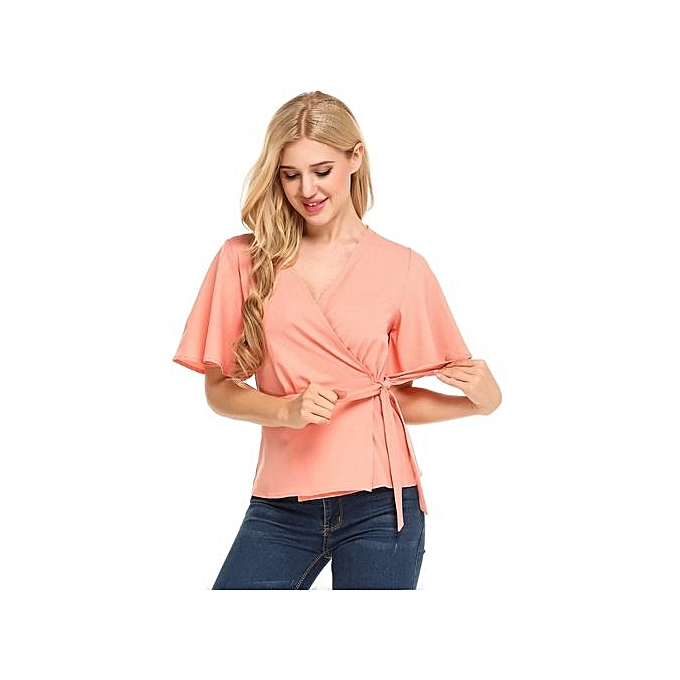 Sunshine femmes V-Neck Flare Sleeve Solid Wrap Front cravate Slim Fit chemisier hauts-rose à prix pas cher