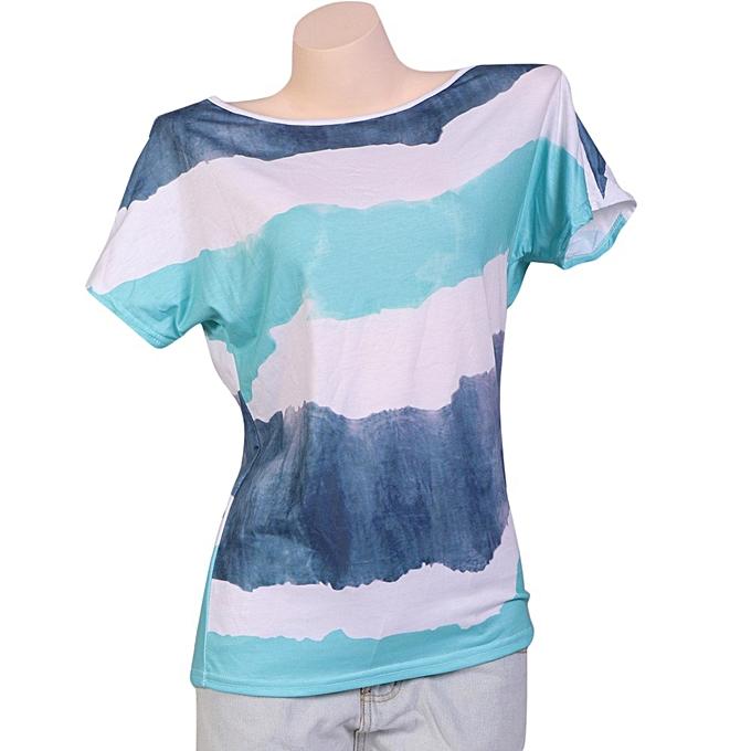 Generic Generic Fashion Casual femmes Short Sleeve Stripe Printing Plus Taille Top Blouse T-Shirt  A1 à prix pas cher