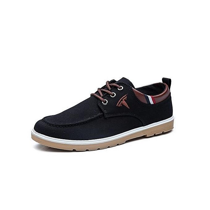 Generic mode Hommes toile chaussures 2016 nouveau mode Comfortable Flat Hommes Oxford chaussures Lace-up Solid Winter Hommes Causal chaussures-noir à prix pas cher