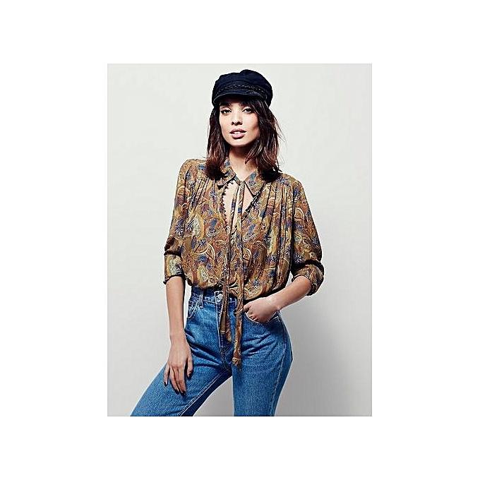 Fashion Chemise Manches Longues Avec Cordon Sur L'Encolure - MultiCouleure à prix pas cher