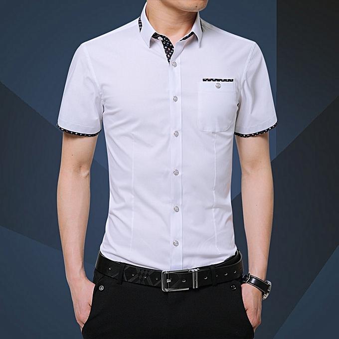 Tauntte Men's Shirts Short Sleeve Slim Fit Business Formal Shirts (blanc) à prix pas cher