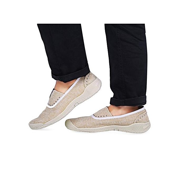 Générique Casual Shoes Slip-On Slip-On Slip-On Rivet Linen ODM Designer-BEIGE à prix pas cher  | Jumia Maroc 9a009b