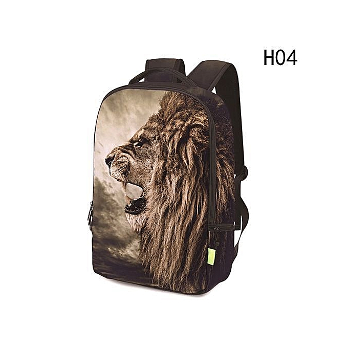 Fashion femmes Men 3D  Lion Rainbow Clown Travel Satchel Backpack Rucksack Shoulder Bookbag School Bag à prix pas cher