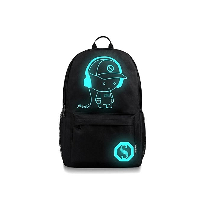 Neworldline UniSexe Light Preppy Teenagers Noctilucent Cartoon School Sac s Student Backpack - noir à prix pas cher