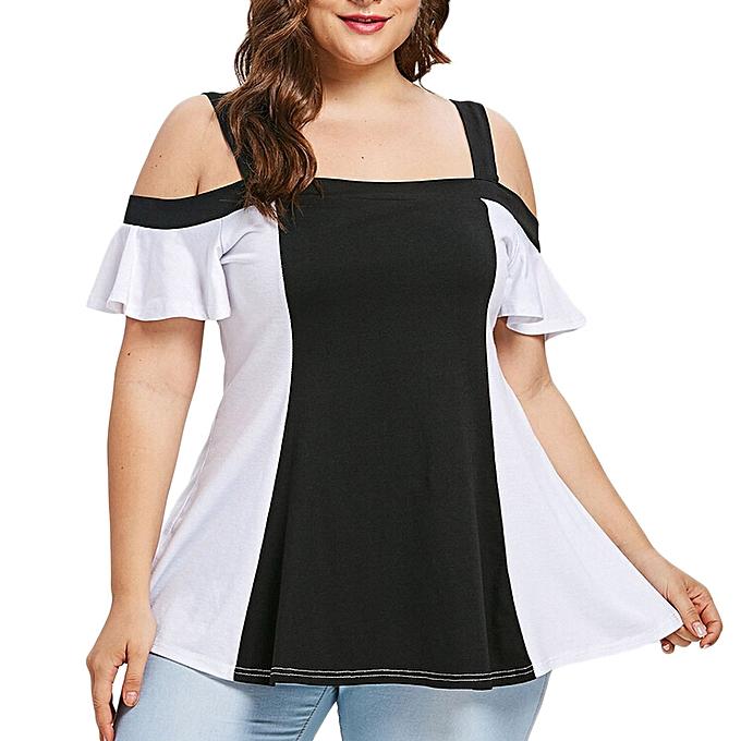 Fashion Fashion femmes Plus Taille Hit Couleur Open Shoulder Patchwork T-shirt Tops Blouse à prix pas cher