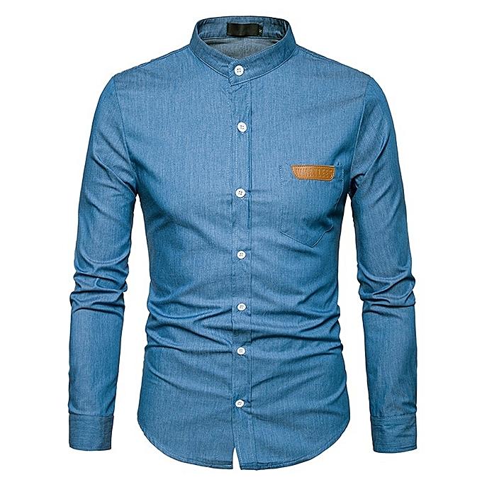 Other European Taille Men's Pocket Denim Long Sleeve Shirt à prix pas cher
