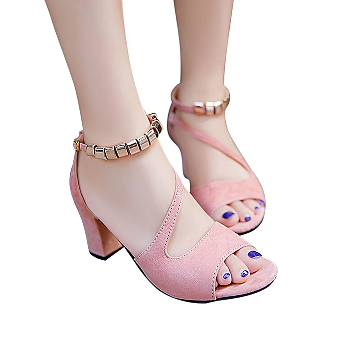Fashion femmes Solid Couleur Peep Toe Buckle Square Heel Sandals High Heeled chaussures rose - à prix pas cher    Jumia Maroc