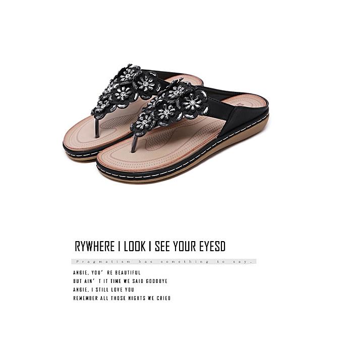 Fashion Ethnic female sandals bohemian rhinestones large Taille comfortable flat chaussures beach chaussures à prix pas cher