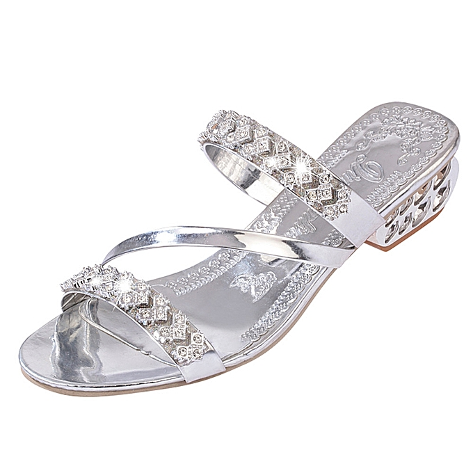 Fashion Jummoon Shop femmes Rhinestone Slippers femmes Fashion Open Toe chaussures Bohemia Heel chaussures à prix pas cher