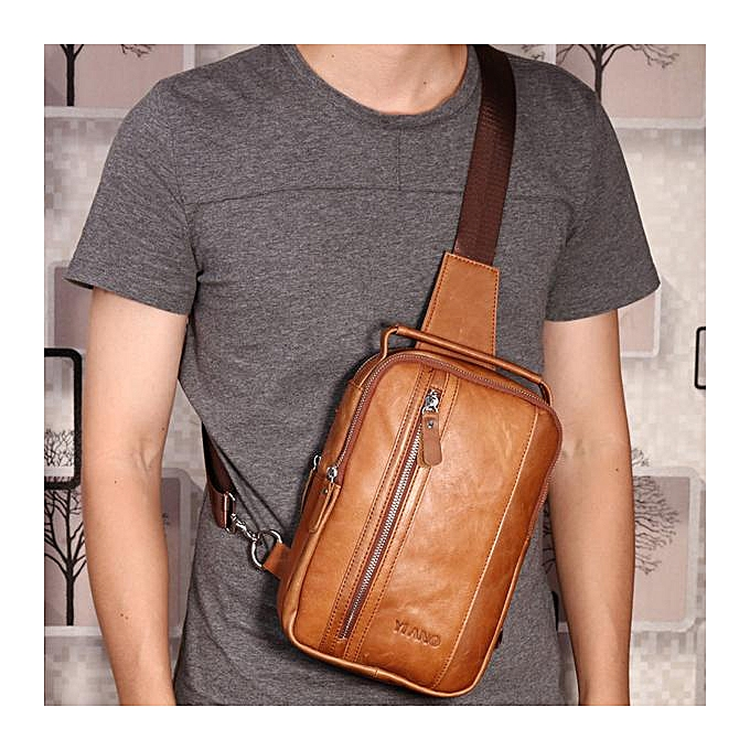 Fashion Multifunctional Genuine Leather Vintage Chest Bag Cowhide Retro Crossbody Bag à prix pas cher
