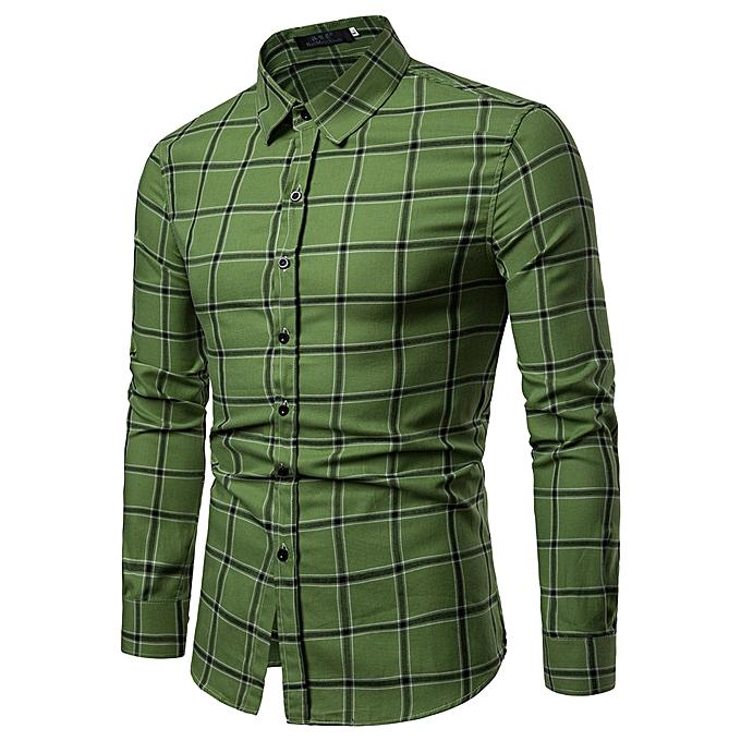 mode Hommes& 039;s Plaid T Shirt Leaf manche longue hauts Décontracté Open Shirts à prix pas cher