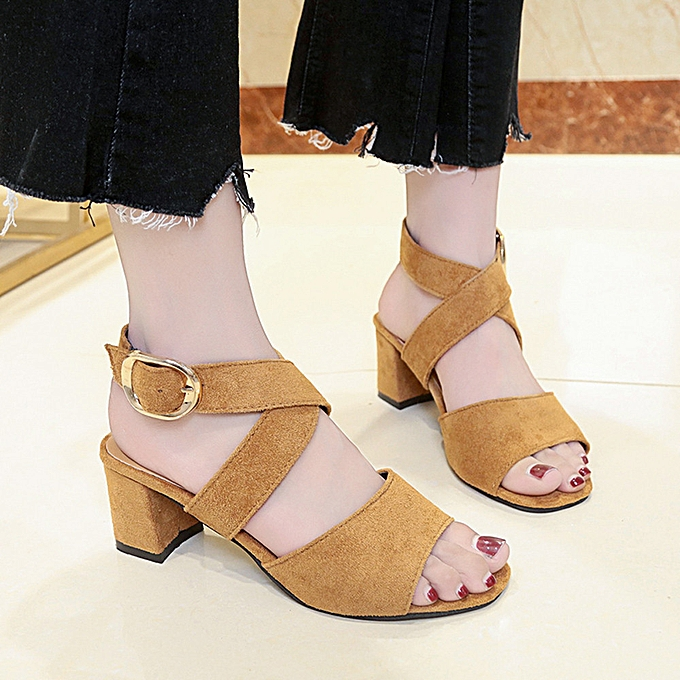 a3079237391 Jiahsyc Store Women Fish Mouth High Heels Wedge Thick With Sandals Buckle  Slope Sandals-Brown