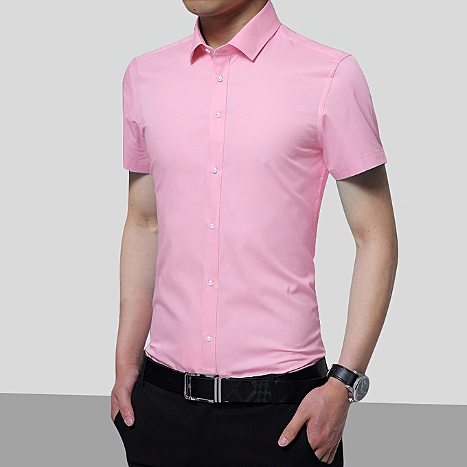 Tauntte Hommes manche courte Shirt Solid Couleur Affaires Office Formal Hommes Shirt (rose) à prix pas cher