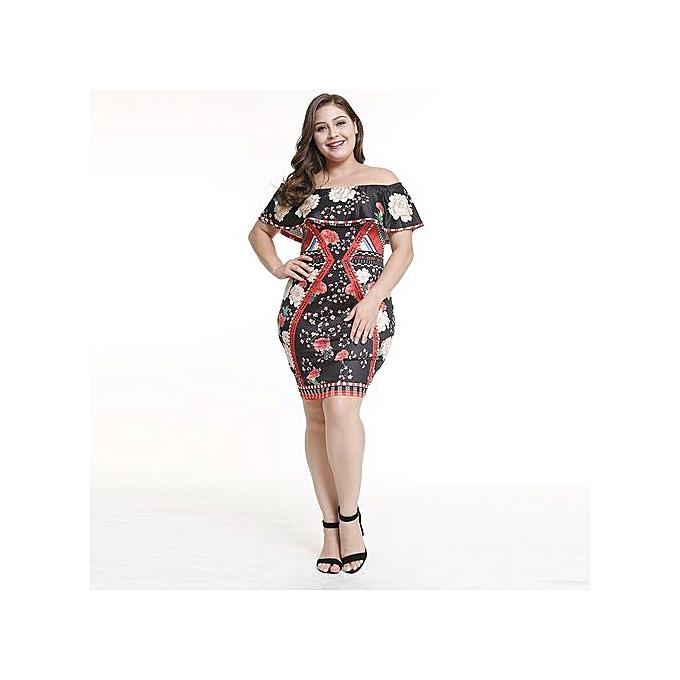 AFankara Plus Taille Ankara Gown Style Off Shoulder A Line Robees-Multi à prix pas cher