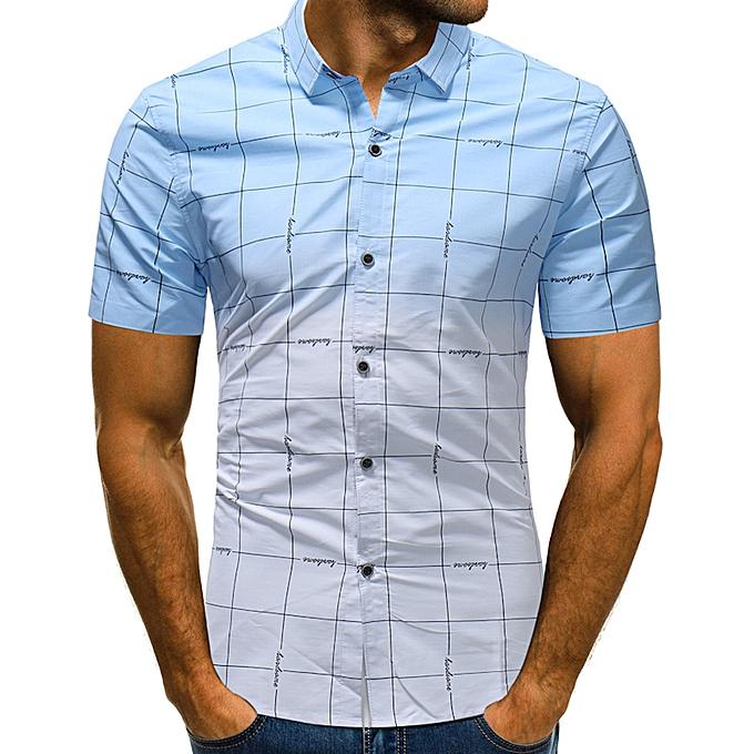mode Pour des hommes Lattice Gradual Change Tees Shirt manche courte T-Shirt chemisier hauts -bleu à prix pas cher